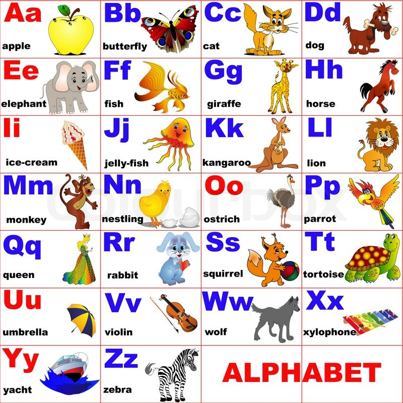 illustration animals placed on letter of the alphabet stock photo