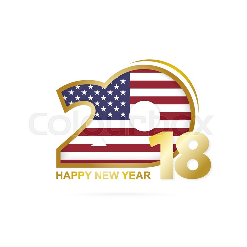 year 2018 with usa flag pattern happy new year design vector illustration stock vector colourbox