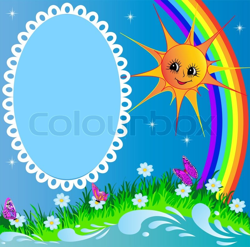 Illustration frame with sun butterfly and rainbow | Stock Photo ...