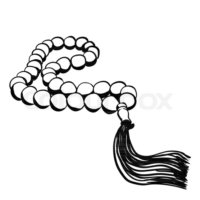 Hand Drawn Islamic Prayer Beads In Cartoon Style Isolated On White