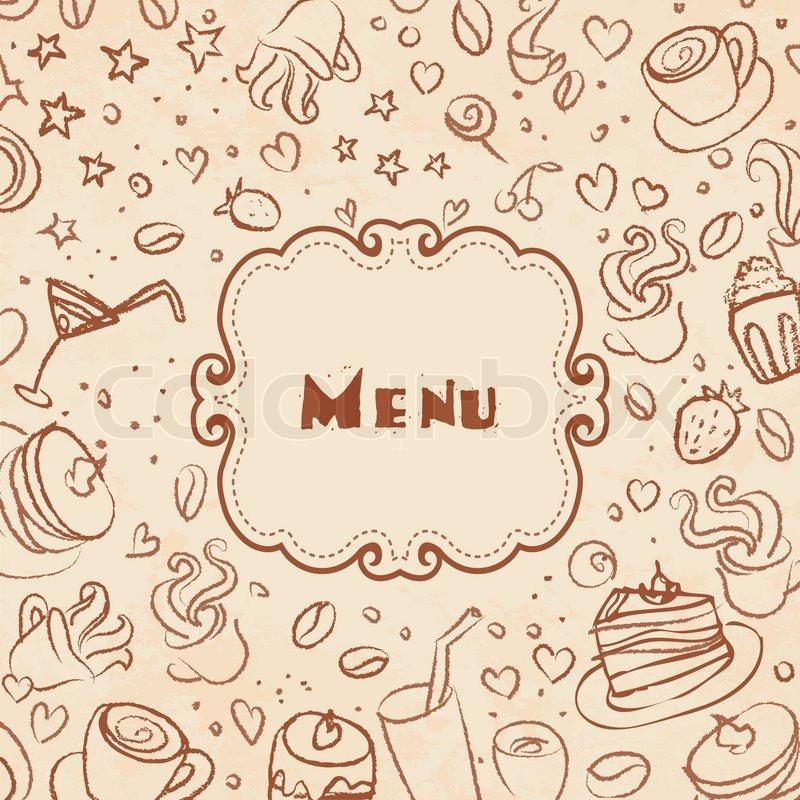 Restaurant Menü-Seite Vorlage mit Kaffee scribble Hintergrund ...