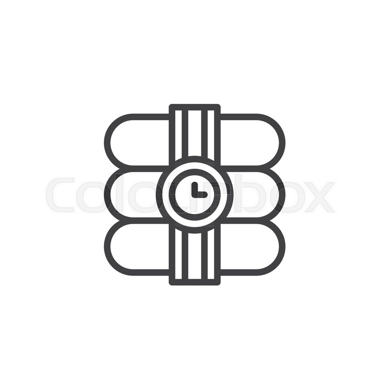 Dynamite With Stopwatch Line Icon Outline Vector Sign Linear Style
