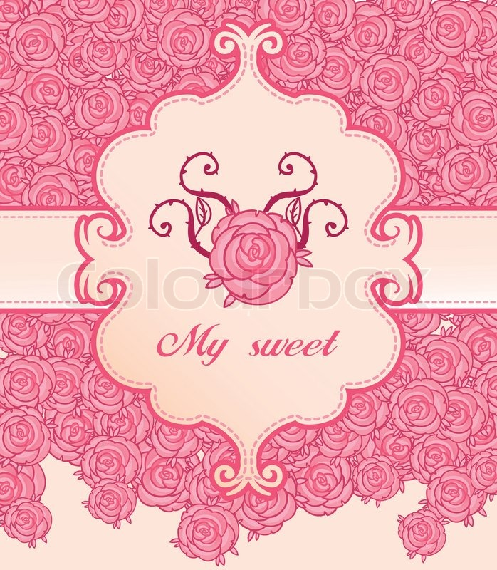 Pink roses invitation vintage style frame vector illustration pink roses invitation vintage style frame vector illustration stock vector colourbox stopboris Images