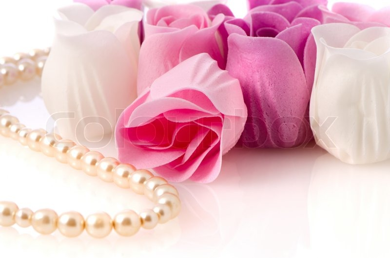 Pink, purple and white beautiful luxury soap roses and a ...