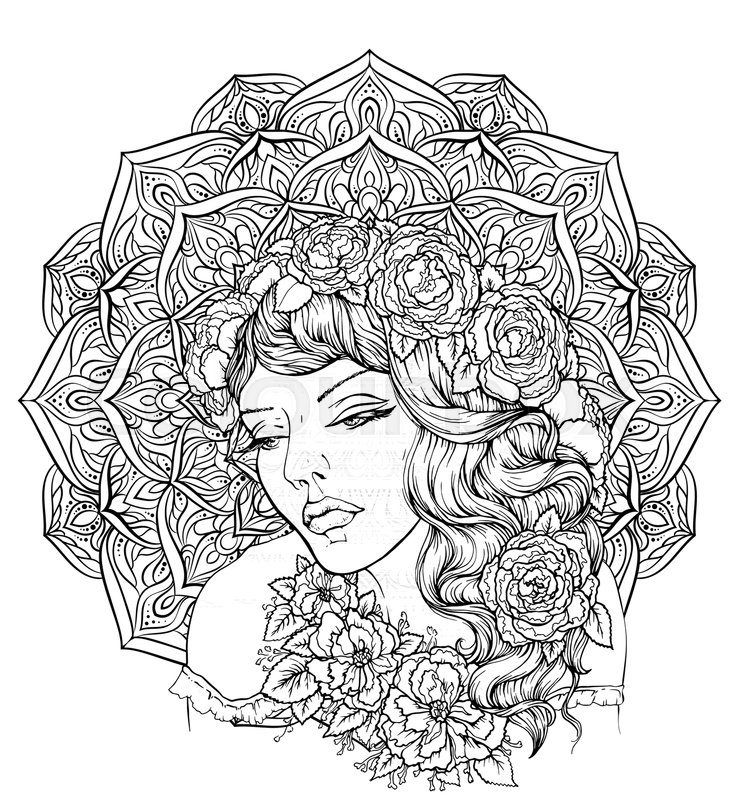 Face Of Pretty Elegant Boho Girl With Floral Wreath On Exquisite Mandala Background Beautiful Wavy