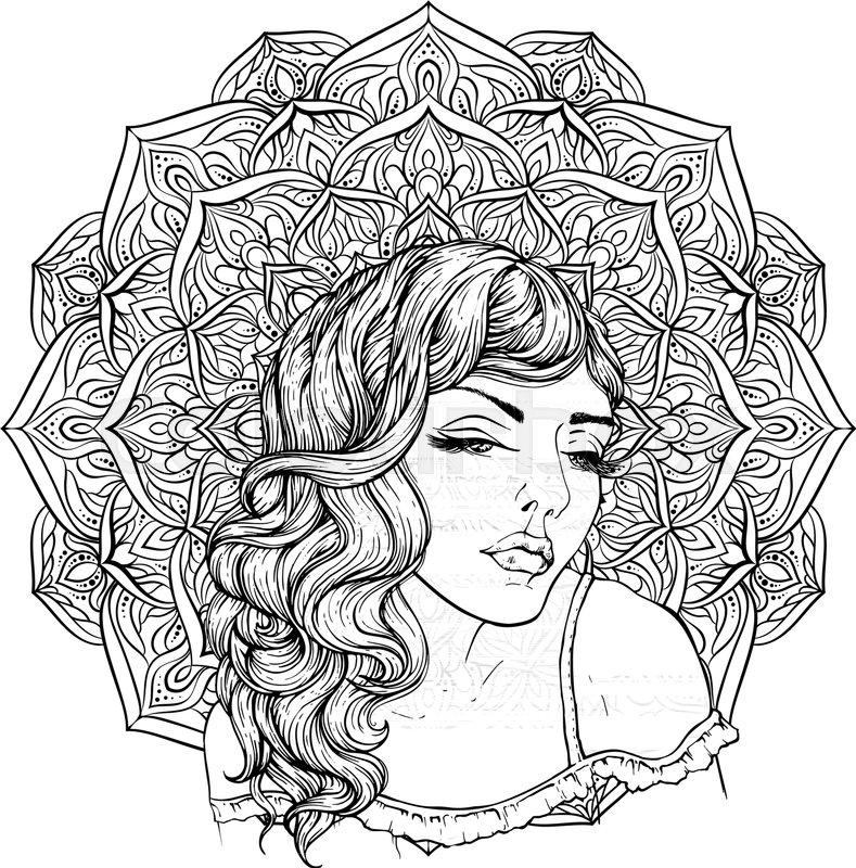 Face Of Pretty Elegant Boho Girl On Exquisite Mandala