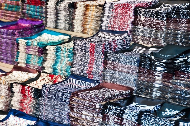 """Buy Stock Photo """"Large amount of silk cloth on stacks at wholesale ..."""