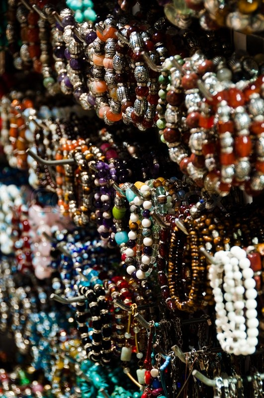 Large Collection Of Bracelets On Sales Display In The