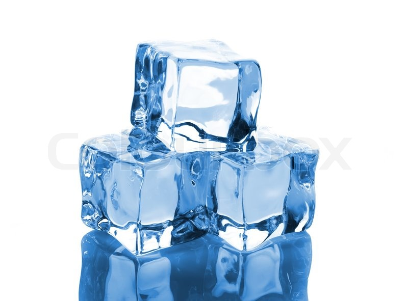 Three ice cubes with reflection isolated on white ... Images Of Solids