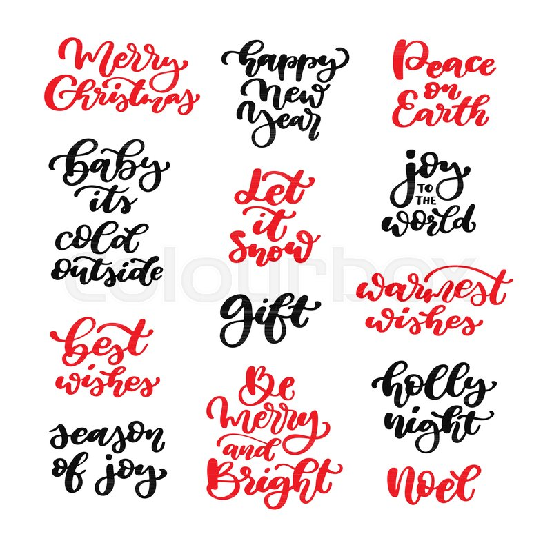 Christmas Calligraphy.Christmas Lettering Vector Set Stock Vector Colourbox