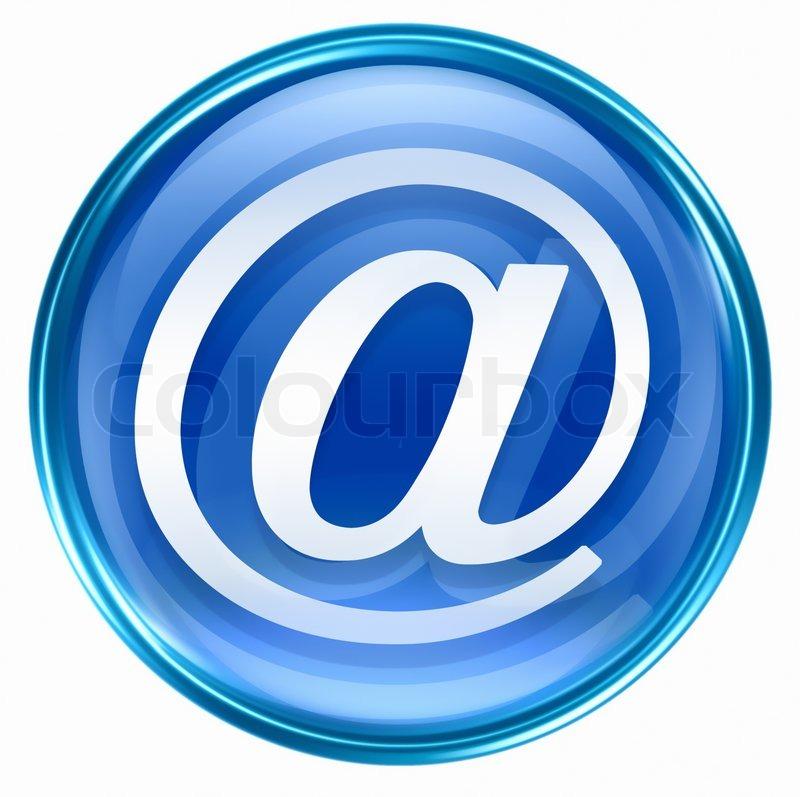 Email symbol blue, isolated on white background | Stock ...