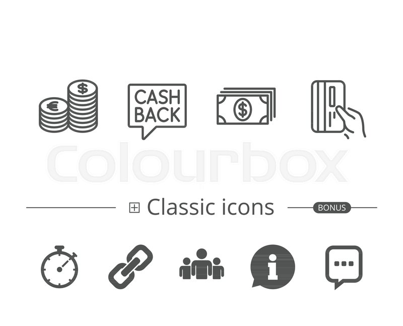 Money Cash And Credit Card Line Icons Cashback Service Currency