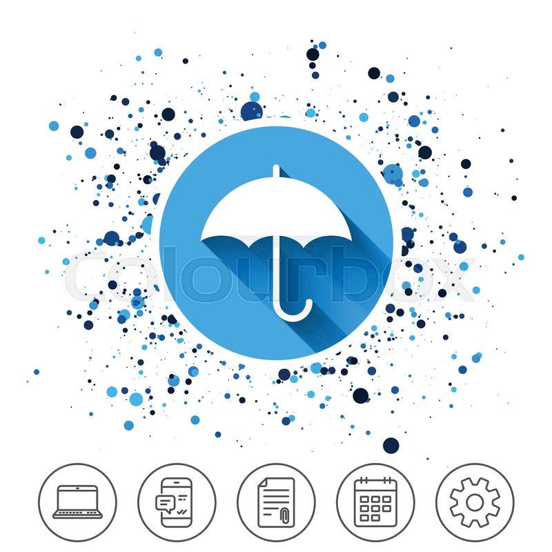 Button On Circles Background Umbrella Sign Icon Rain Protection