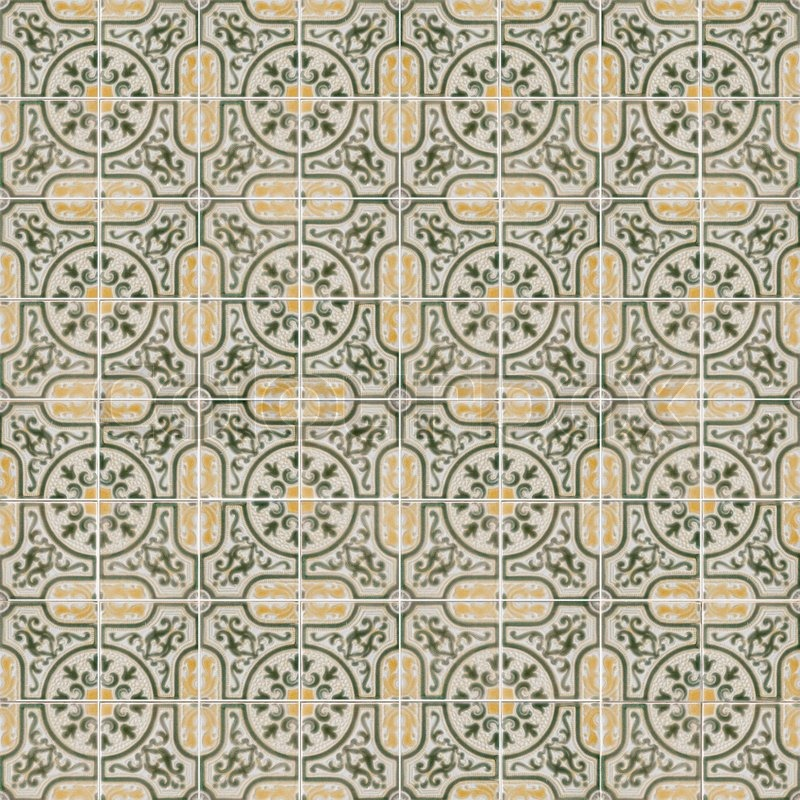 Seamless Tile Pattern Of Ancient Ceramic Tiles Stock