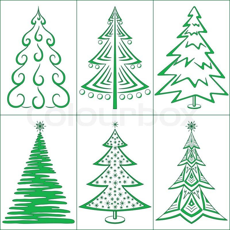 Christmas Trees Winter Holiday Symbols Set Isolated Vector Stock