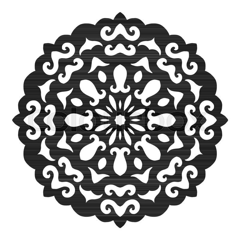 black silhouette of a snowflake lace round ornament and decor rh colourbox com Simple Snowflake Vector Simple Snowflake Vector