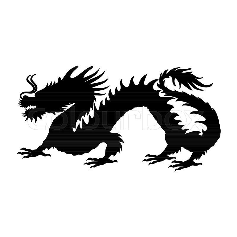 Chinese Dragon Silhouette Symbol Traditional China Vector