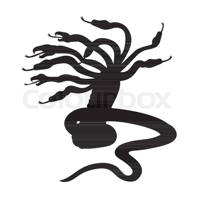 Hydra Silhouette Ancient Mythology Fantasy Vector Illustration