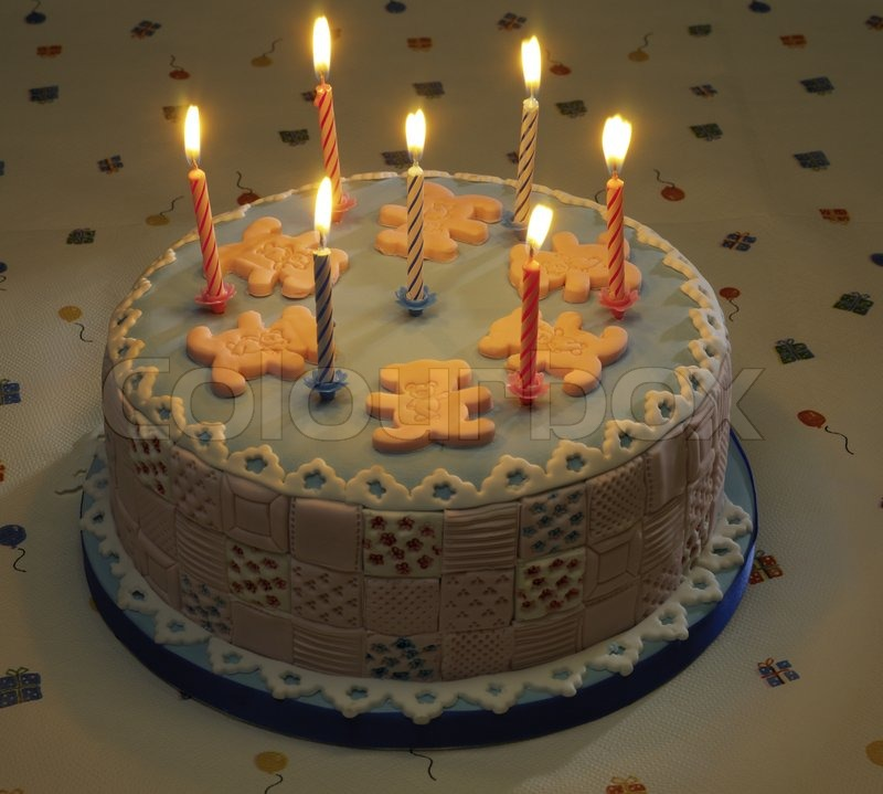 Birthday Cake With Lots Of Candles Stock Photo Colourbox