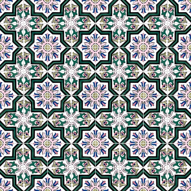 Seamless tile pattern of ancient ceramic tiles   Stock Photo ...