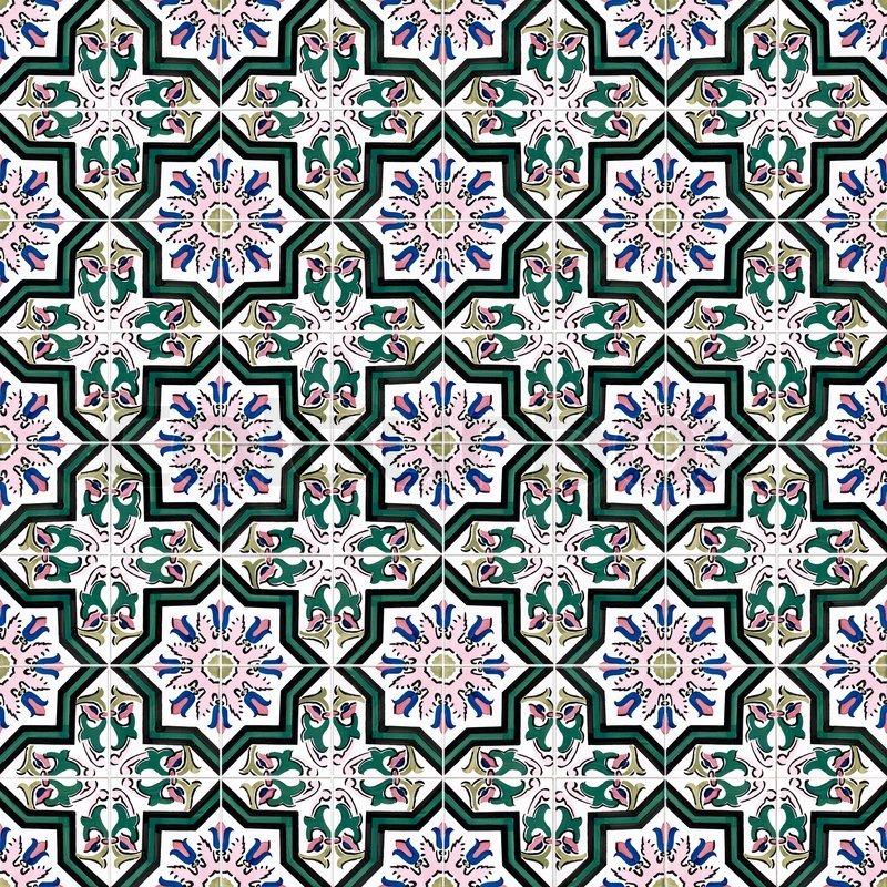 Seamless tile pattern of ancient ceramic tiles | Stock Photo | Colourbox