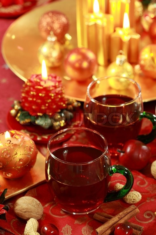 Christmas still life with hot drink stock photo colourbox