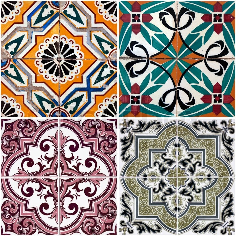 Colorful vintage ceramic tiles wall decoration | Stock ...