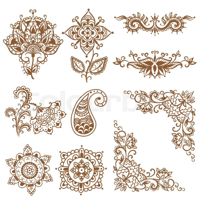 Hand Drawn Henna Mehndi Abstract Stock Vector Colourbox
