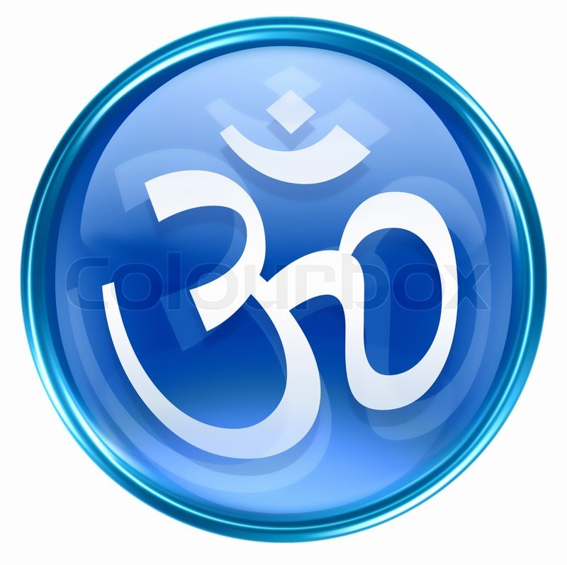 Image of 'Om Symbol icon blue, isolated on white background'