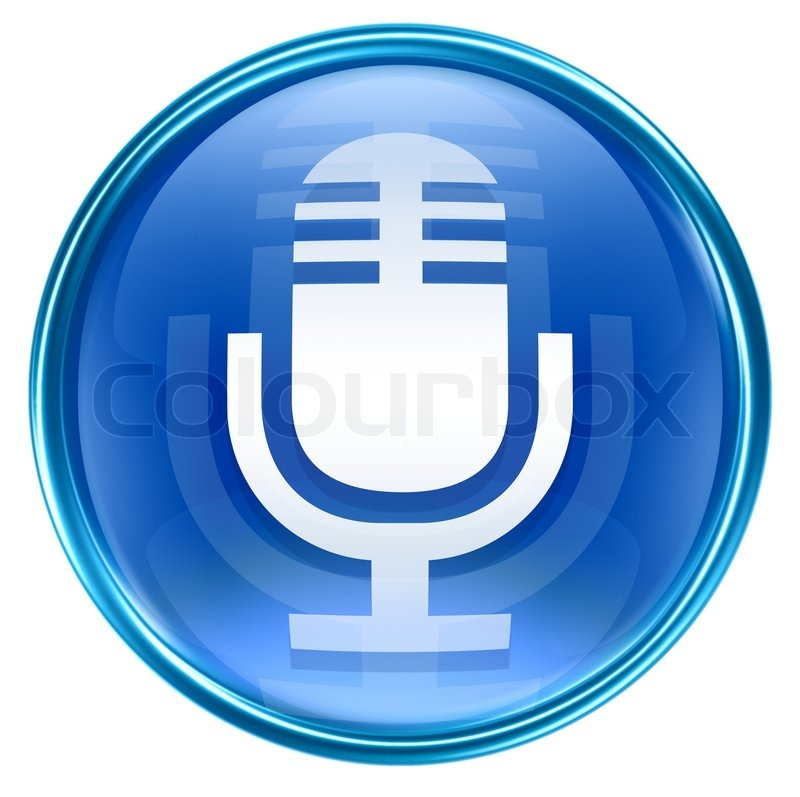 Microphone icon blue, isolated on white       Stock image