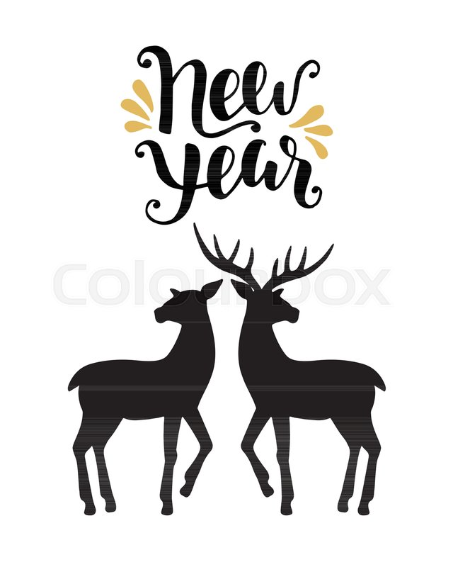 happy new year greeting card with calligraphy hand drawn silhouettes rh colourbox com Deer Vector Clip Art Vector Deer Skull