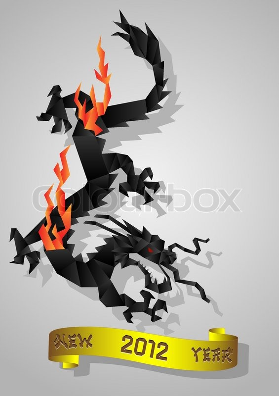 Chinese Black Water Dragon Symbol Of 2012 Year Stock Vector