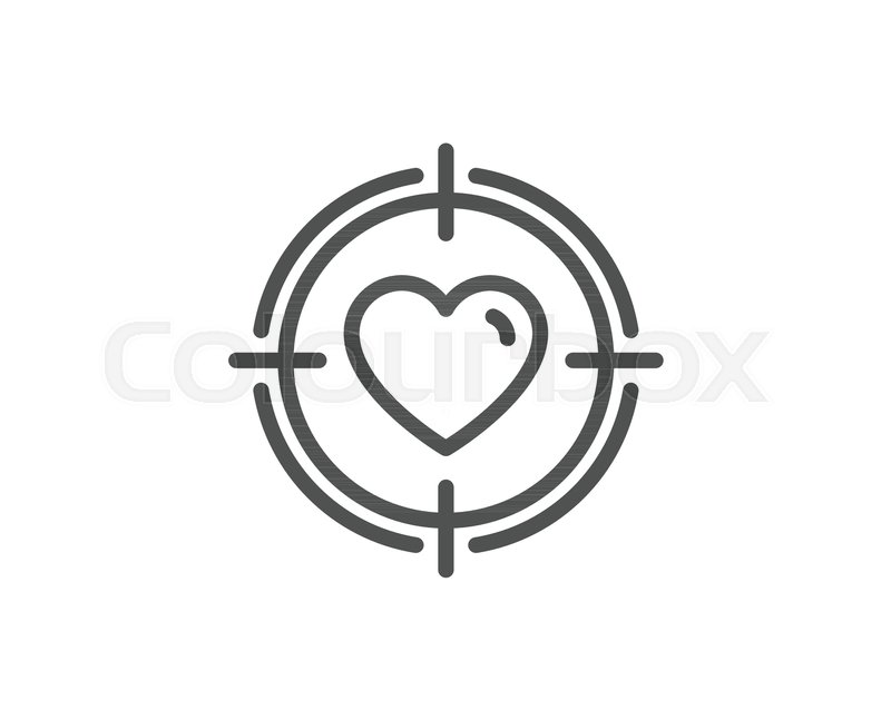 Heart In Target Aim Line Icon Love Dating Symbol Valentines Day Sign Quality Design Element Editable Stroke Vector Stock Vector Colourbox
