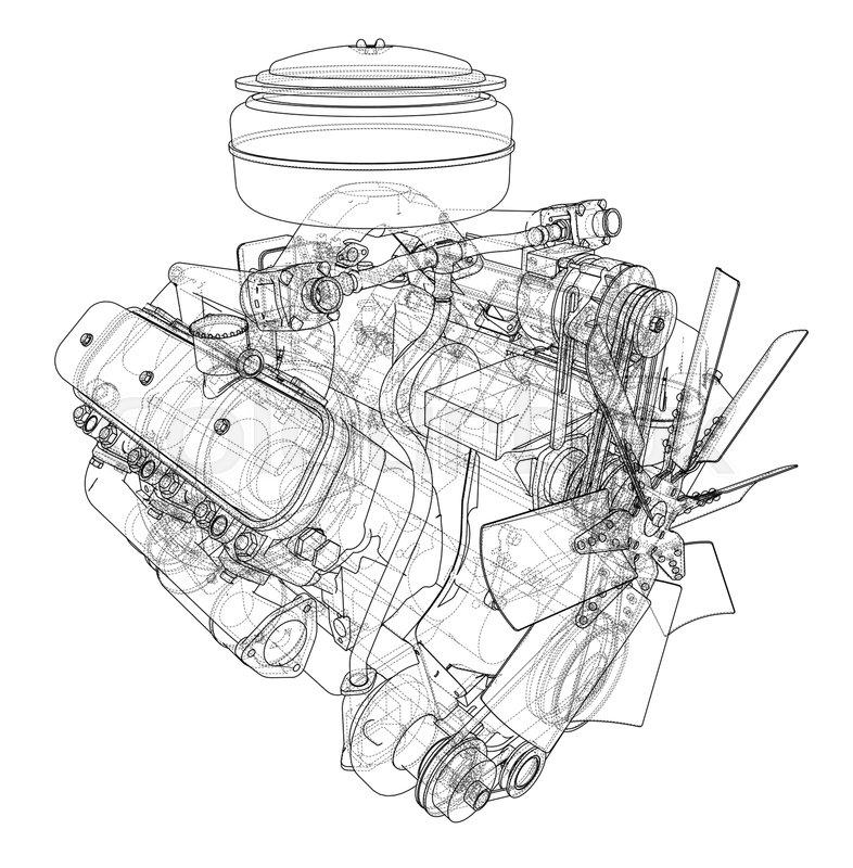 Engine Sketch Vector Rendering Of 3d