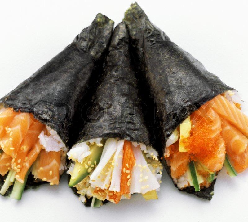 Hand roll temaki salmon sushi roll-design element | Stock Photo ...