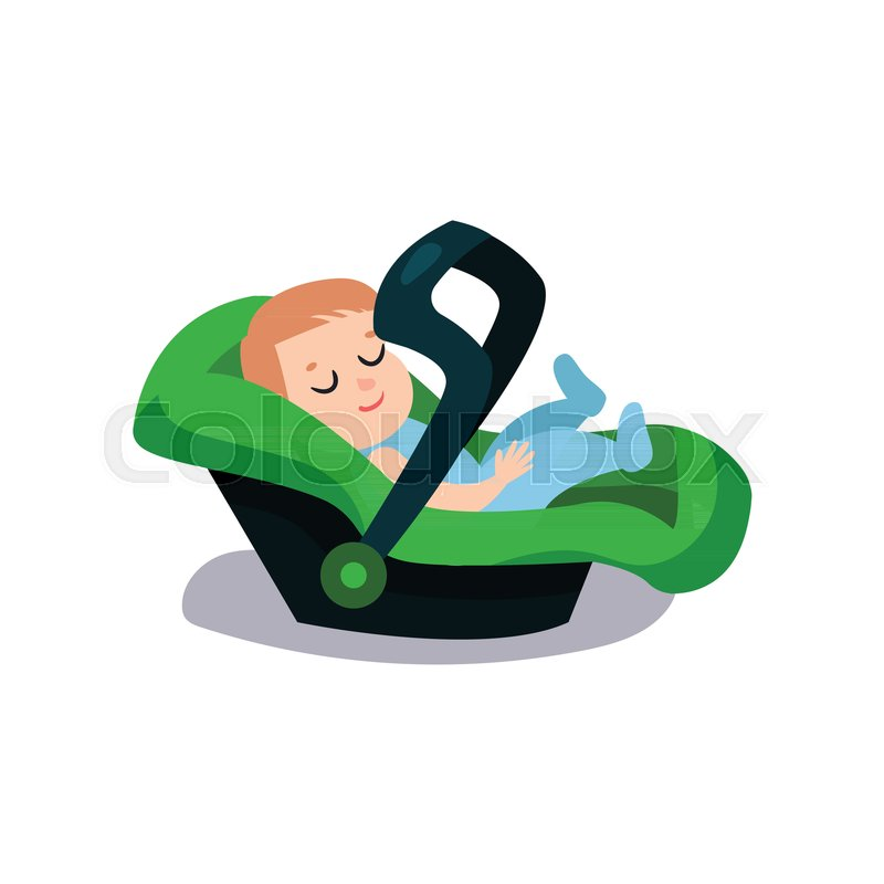 Cute Baby Sleeping On A Green Car Seat Safe Child
