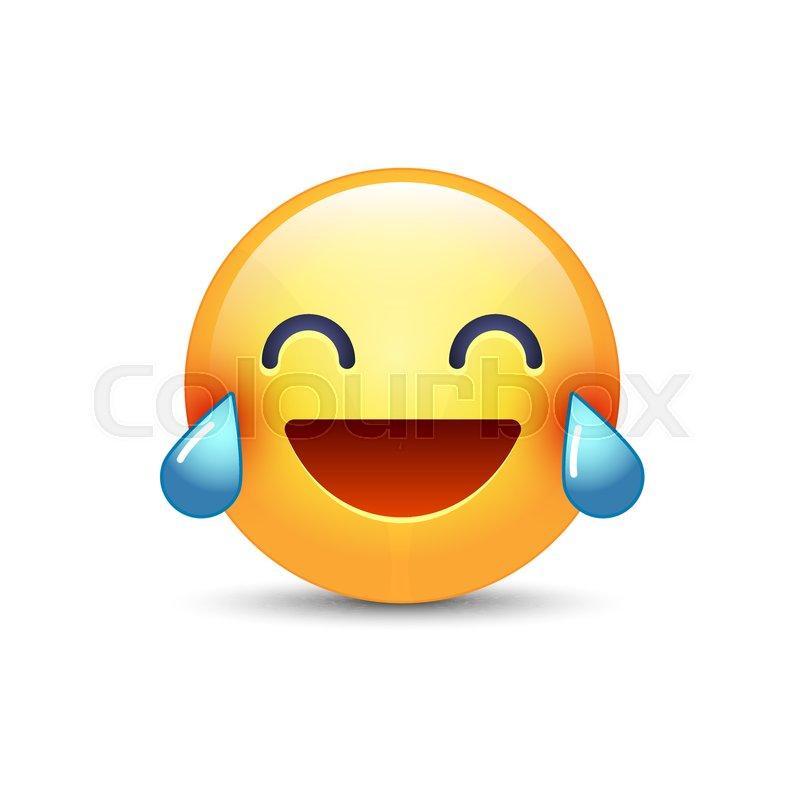 Laughing Smiley With Tears Of Joy. Happy Cartoon Emoticon