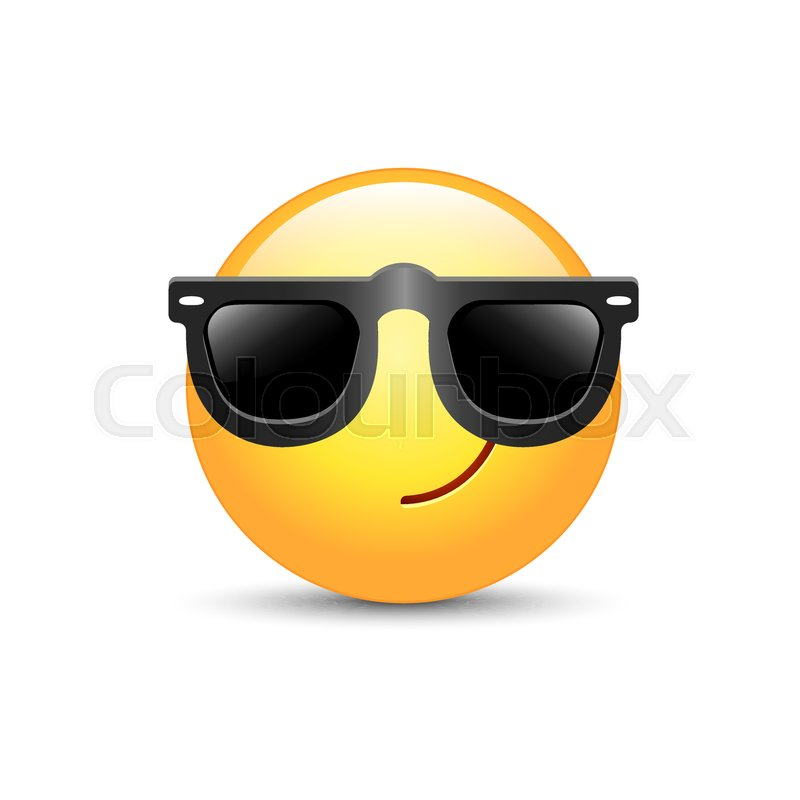 cartoon emoticon wearing black sunglasses happy cute vector emoji rh colourbox com sunglasses cartoon images sunglasses cartoon png