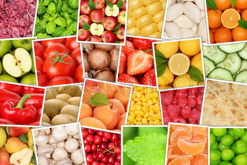 Fruits and vegetables background top view collection apples oranges lemons tomatoes fruit from above, stock photo