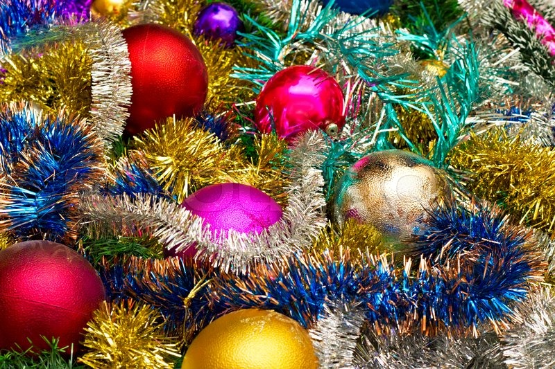 new background of christmas decorations and tinsel stock photo colourbox