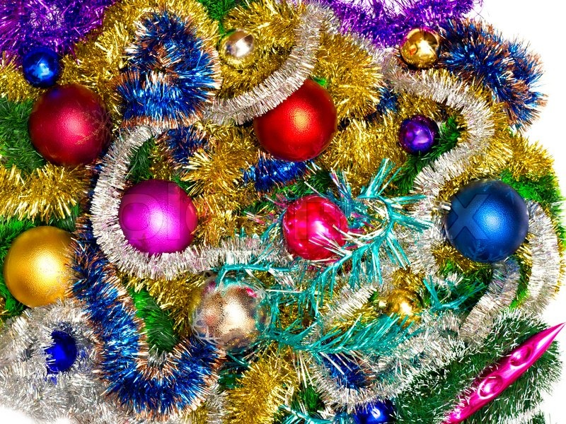 new background of christmas decorations and tinsel stock photo colourbox - Tinsel Christmas Decorations
