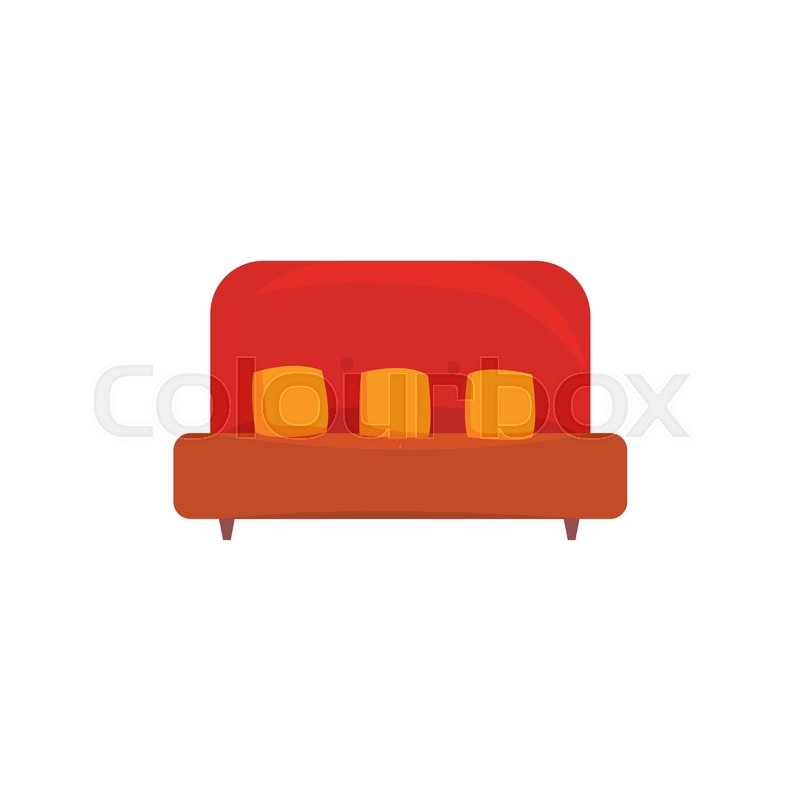 red sofa or couch with pillows, living room or office interior