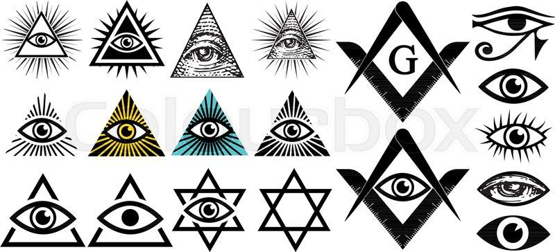 All seeing eye. Illuminati symbols, masonic sign ...