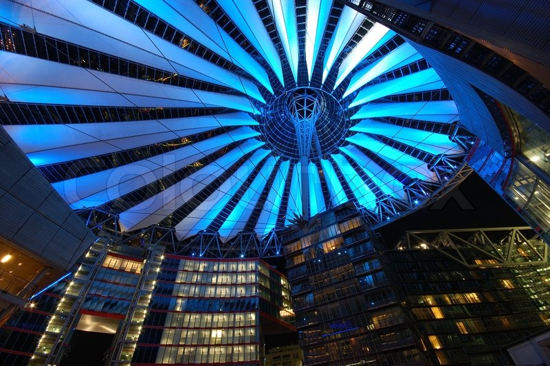 Futuristic Roof Of The Sony Center In Berlin Illuminated