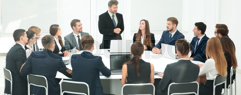 Business negotiations at the round table in the conference hall. the concept of partnership, stock photo