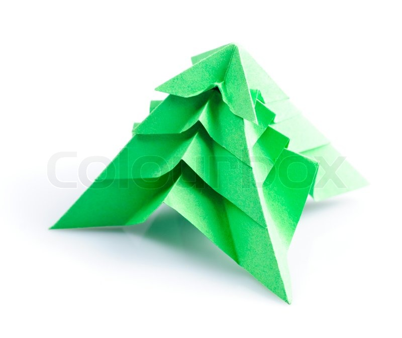 Green Origami Fir Tree Or Christmas Tree Isolated On White Stock