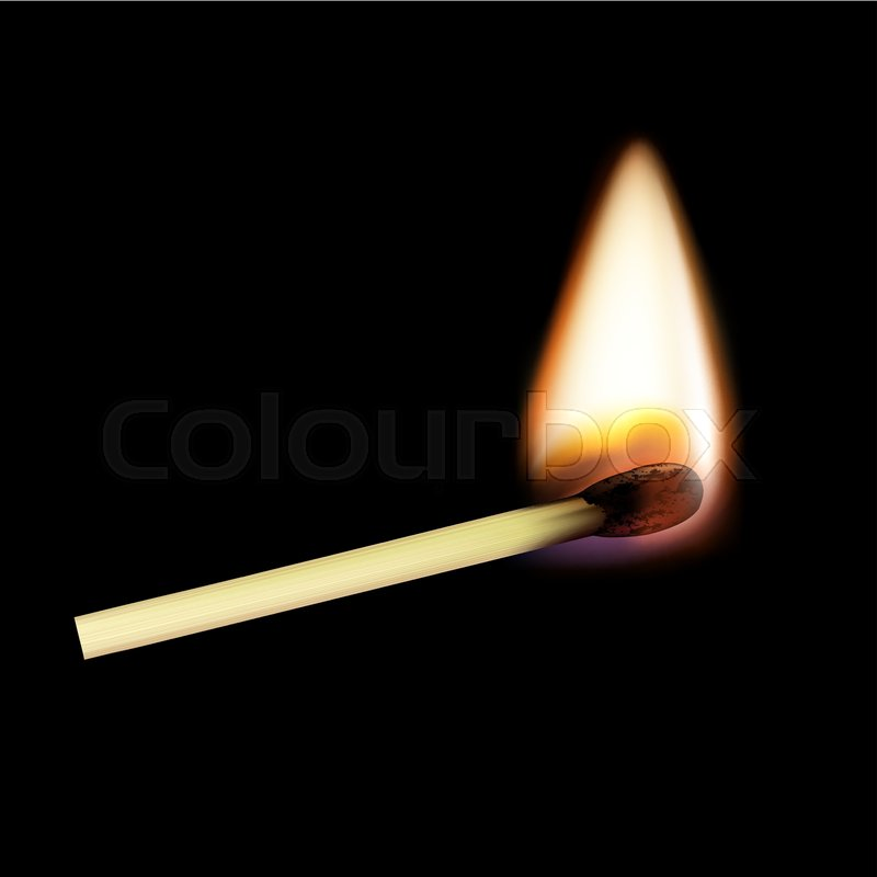 how to draw a match on fire