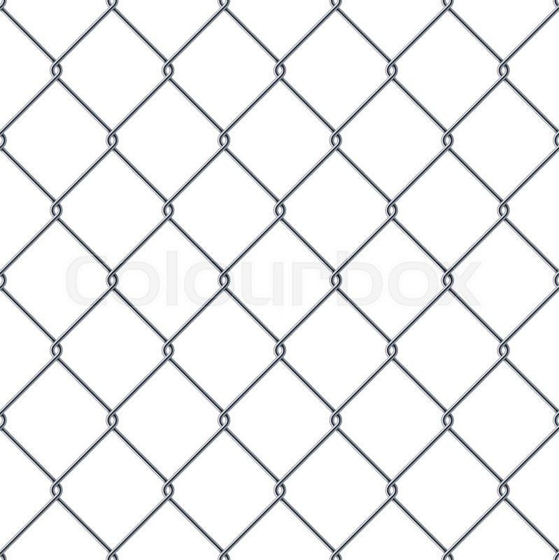 Fence made of metal wire. Seamless pattern isolated on white ...