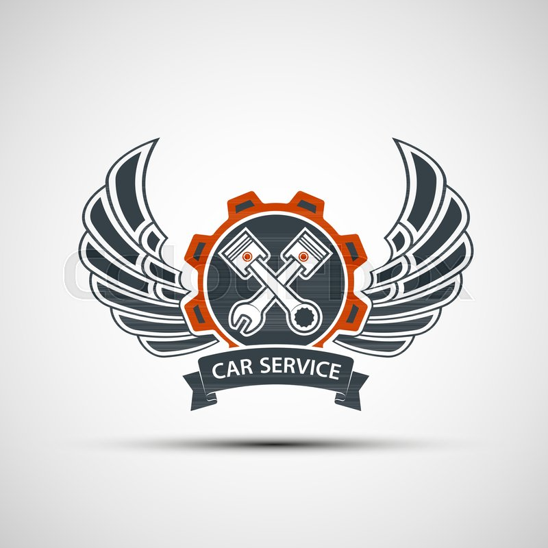 Logo Engine With Plungers Wings And A Tool Wrench Car Service