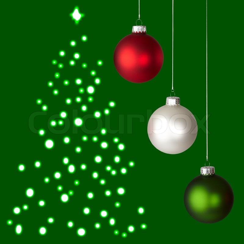 white red and green christmas ornaments on green christmas tree background stock photo colourbox - Green Christmas Decorations